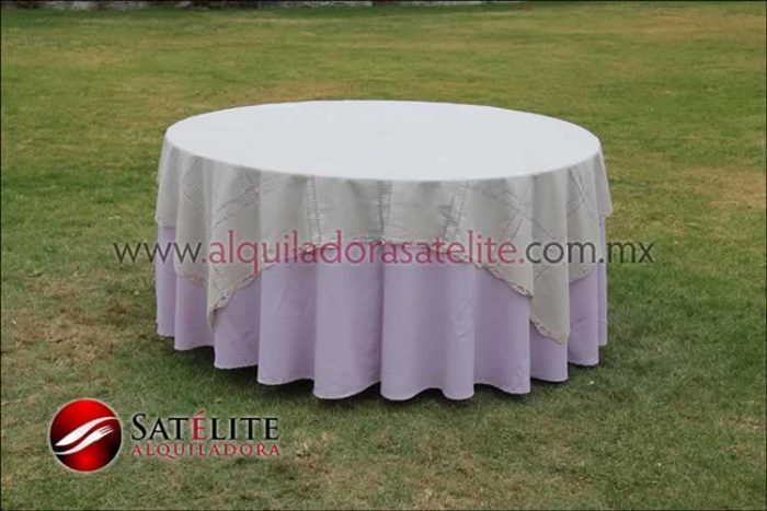 Mantel redondo lila deshilado beige