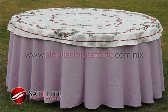 Mantel redondo lila navideño marfil