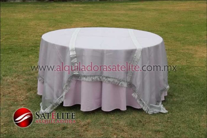 Mantel redondo lila organza plata