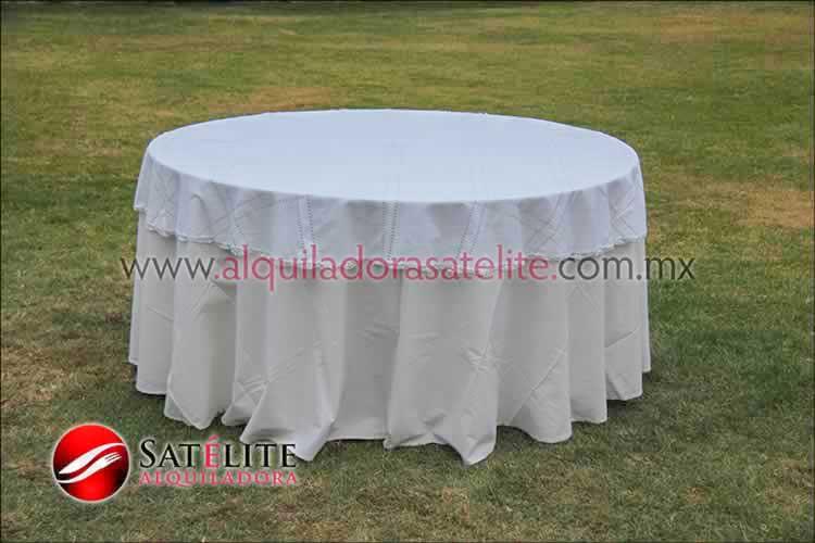 Mantel redondo manta deshilado blanco