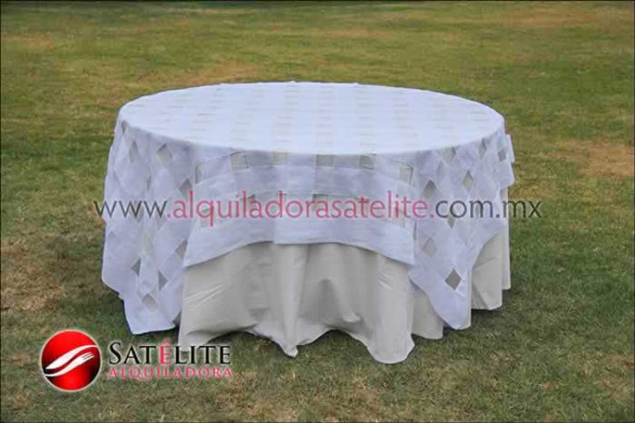 Mantel redondo manta entrelazado blanco