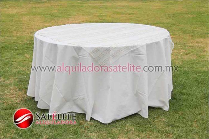 Mantel redondo manta organza blanco oro