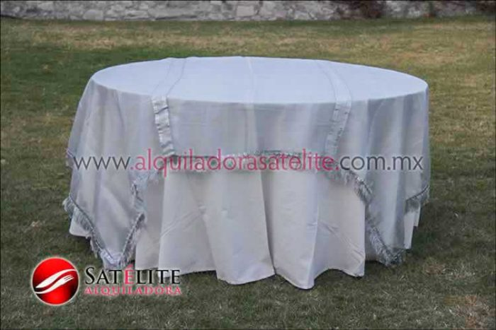 Mantel redondo manta organza plata