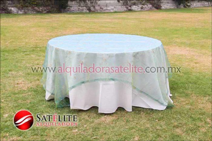 Mantel redondo manta organza verde