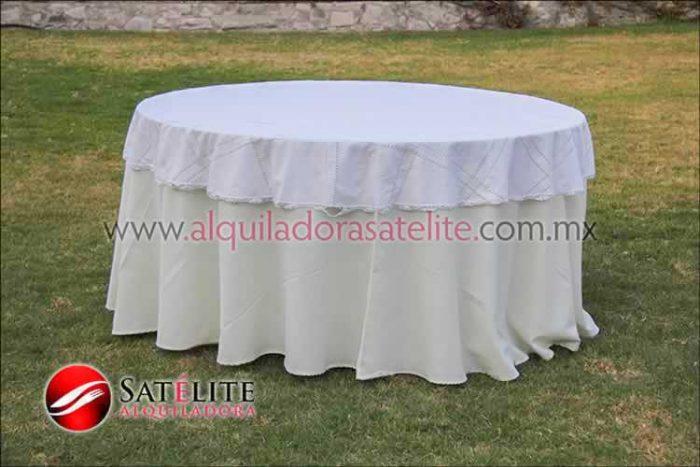 Mantel redondo marfil deshilado blanco