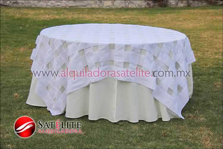 Mantel redondo marfil entrelazado blanco