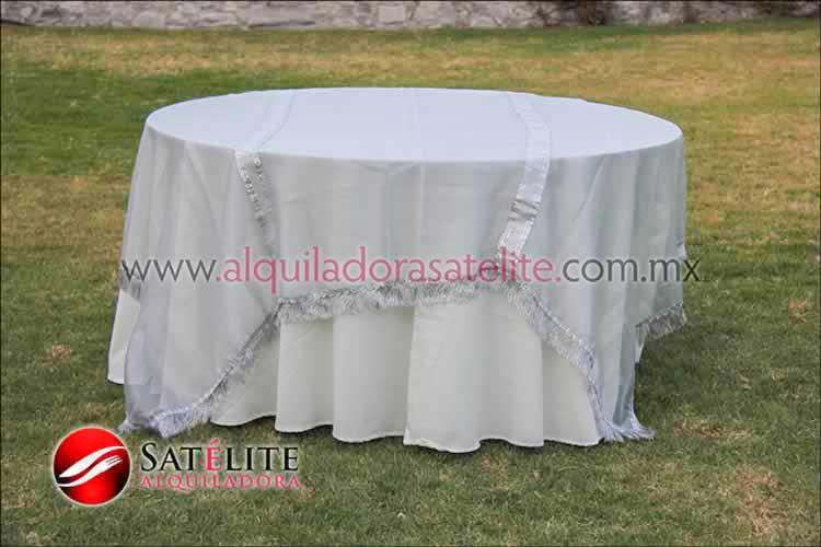 Mantel redondo marfil organza plata