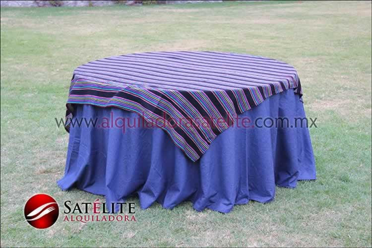 Mantel redondo mezclilla cambaya