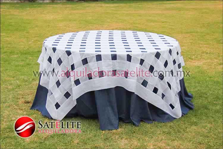 Mantel redondo mezclilla entrelazado blanco