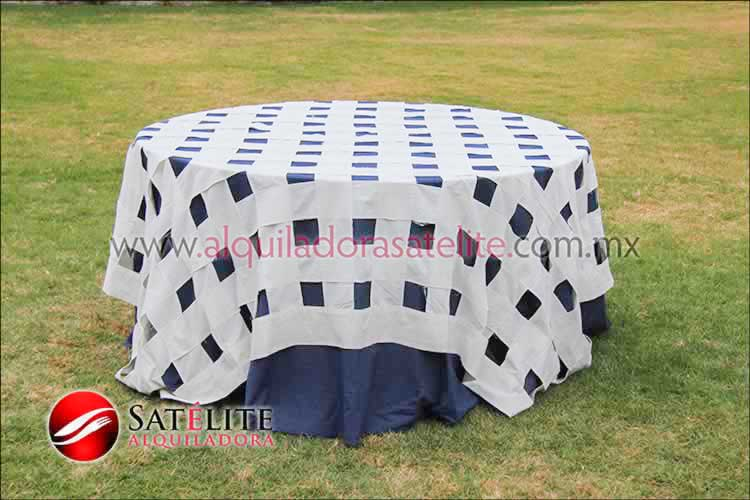 Mantel redondo mezclilla entrelazado manta