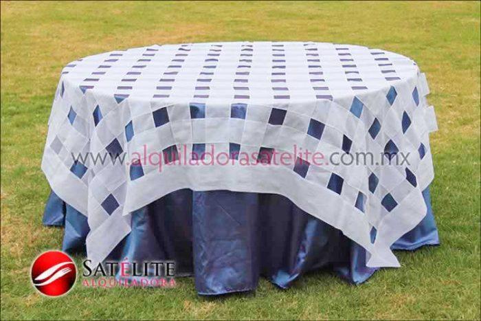 Mantel redondo morado tornasol entrelazado blanco