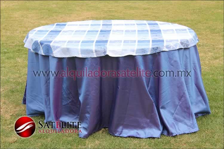 Mantel redondo morado tornasol navideño azul