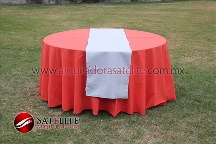 Mantel redondo naranja camino blanco