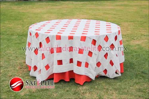 Mantel redondo naranja entrelazado manta
