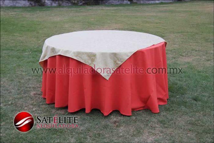 Mantel redondo naranja jackard