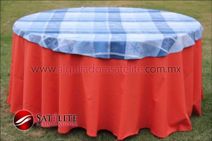 Mantel redondo naranja navideño azul