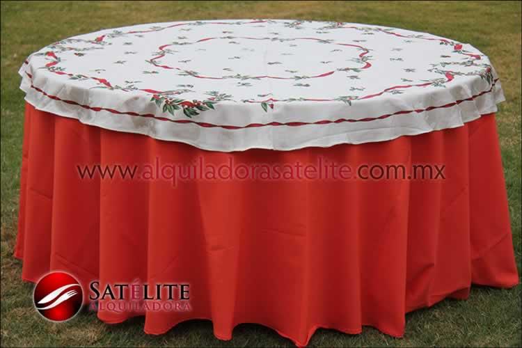 Mantel redondo naranja navideño marfil