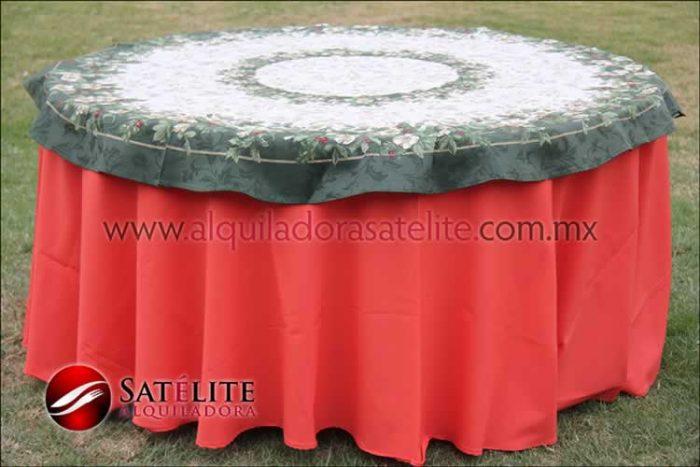 Mantel redondo naranja navideño verde