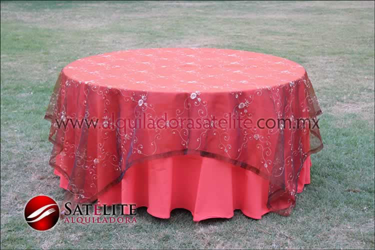 Mantel redondo naranja organza shedrón