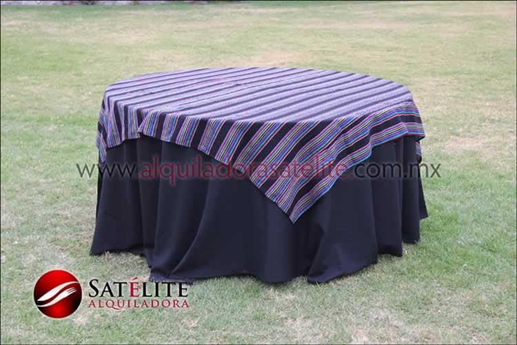 Mantel redondo negro cambaya