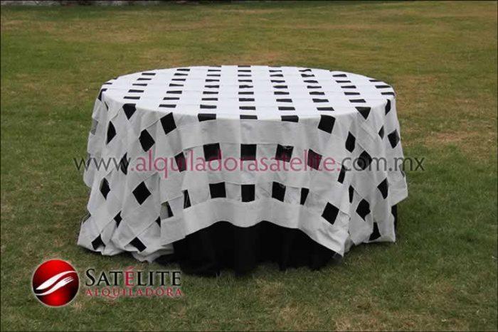 Mantel redondo negro entrelazado manta