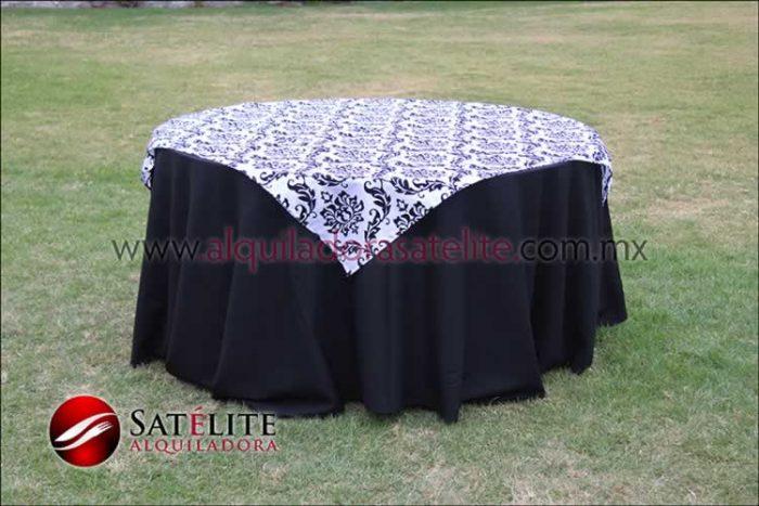 Mantel redondo negro estampado blanco y negro