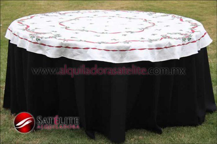 Mantel redondo negro navideño marfil