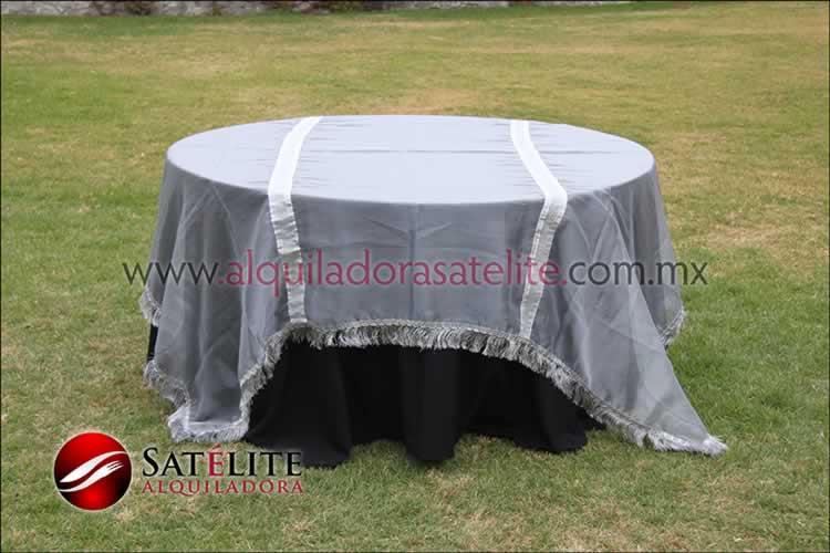 Mantel redondo negro organza plata