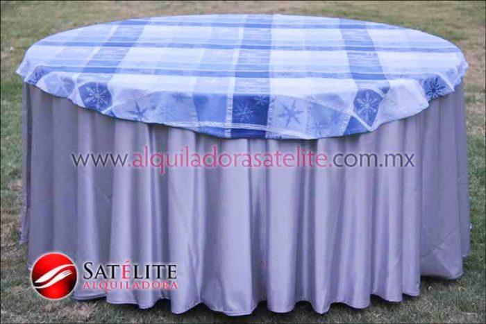 Mantel redondo plata navideño azul