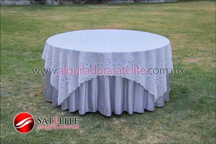 Mantel redondo plata organza marfil