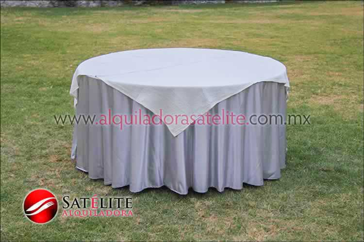 Mantel redondo plata yute