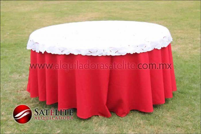 Mantel redondo rojo calado