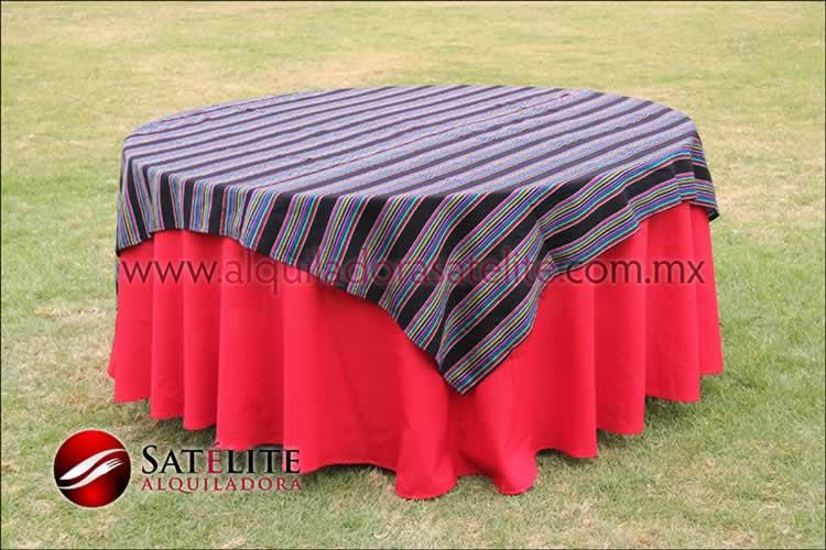 Mantel redondo rojo cambaya
