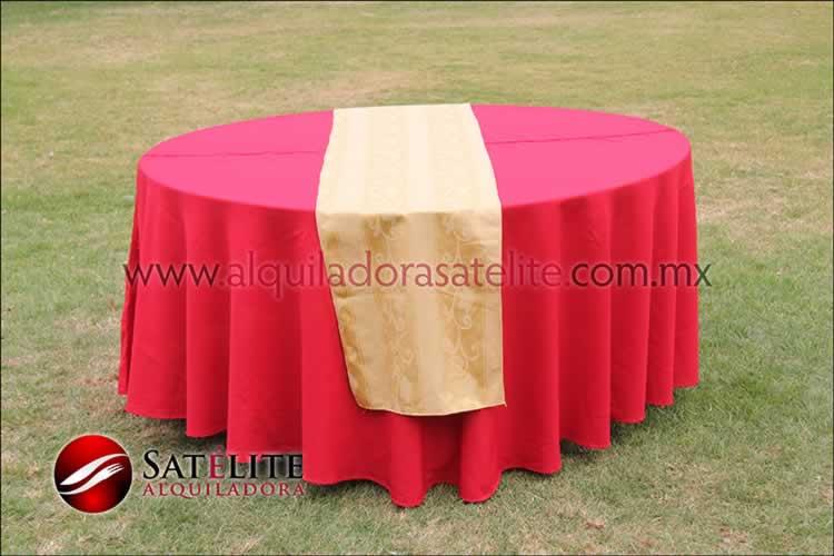 Mantel redondo rojo camino jackard