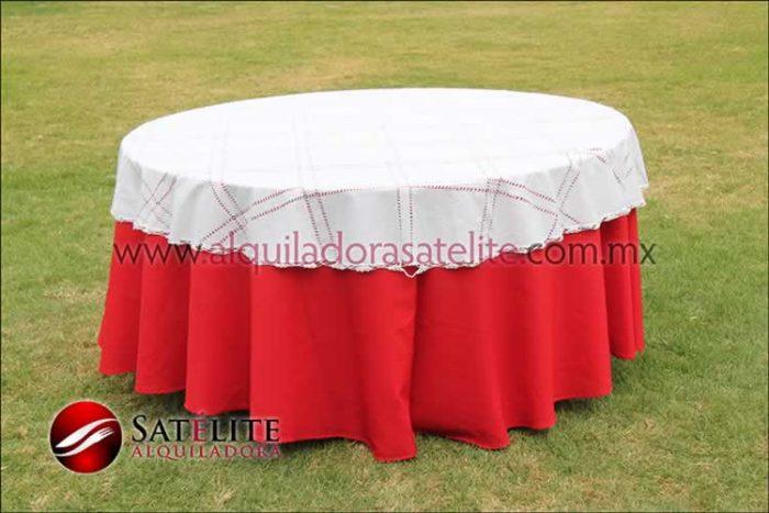 Mantel redondo rojo deshilado blanco