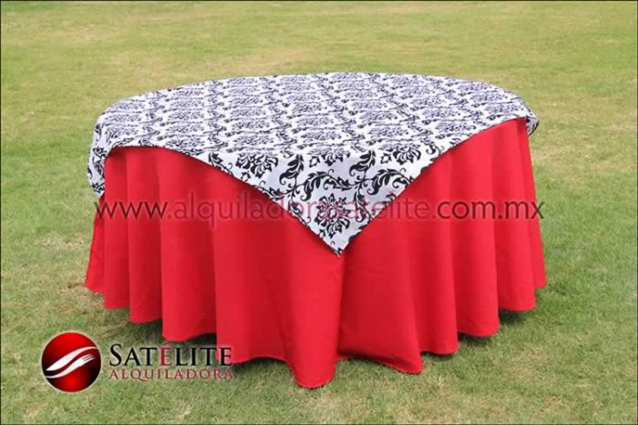 Mantel redondo rojo estampado blanco y negro