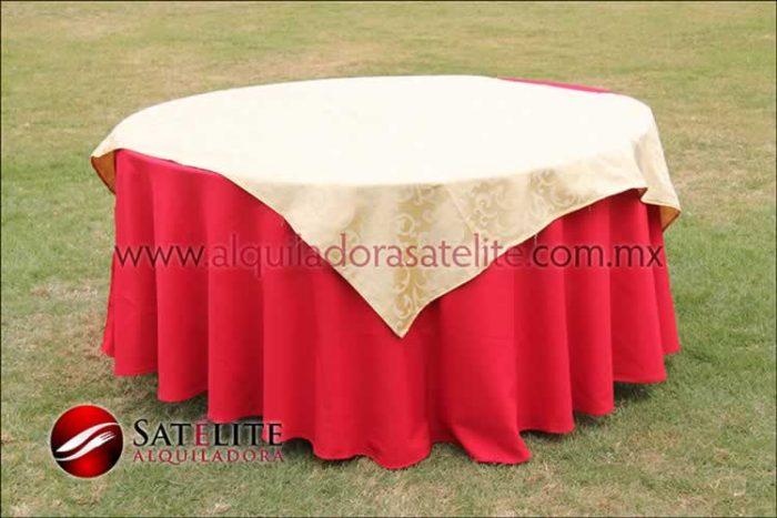 Mantel redondo rojo jackard