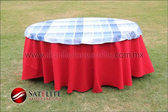 Mantel redondo rojo navideño azul