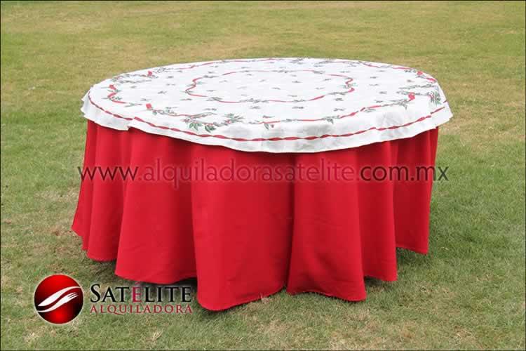 Mantel redondo rojo navideño marfil