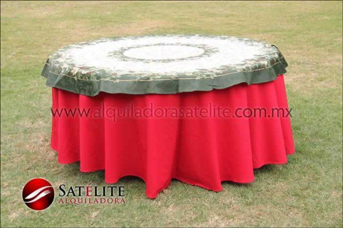 Mantel redondo rojo navideño verde