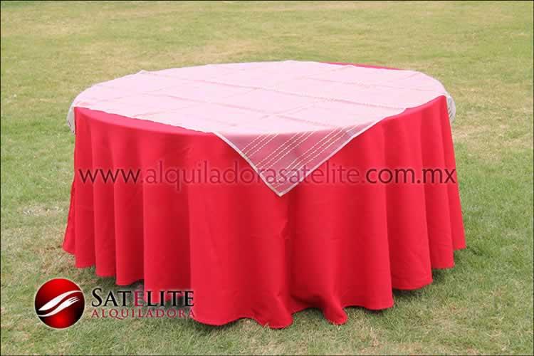 Mantel redondo rojo organza blanco oro