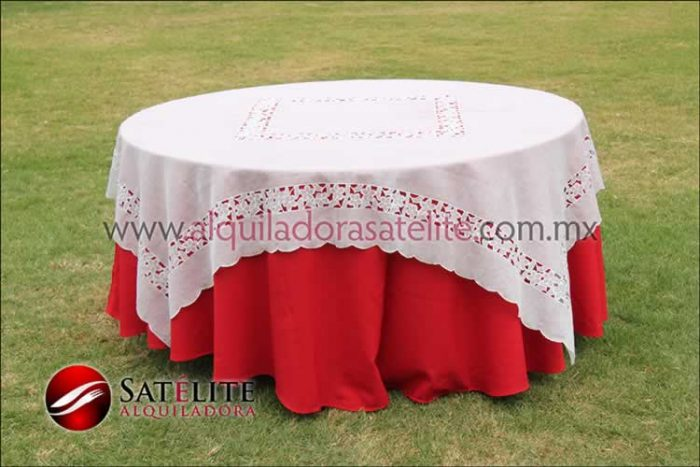 Mantel redondo rojo organza marfil