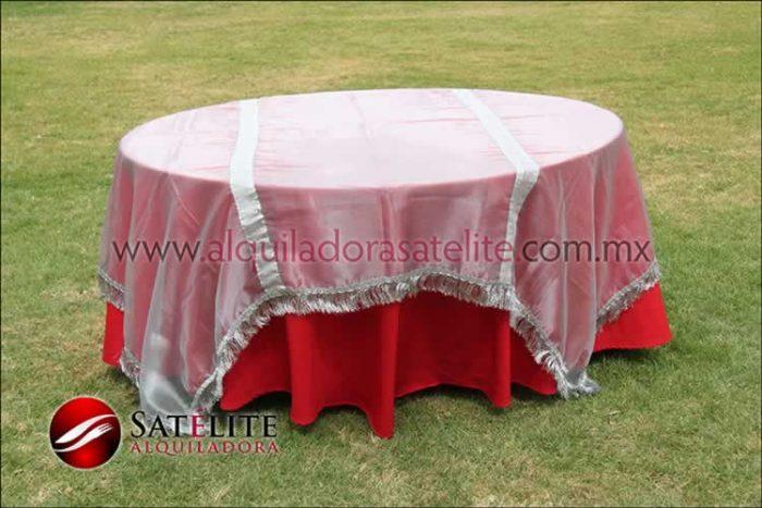 Mantel redondo rojo organza plata