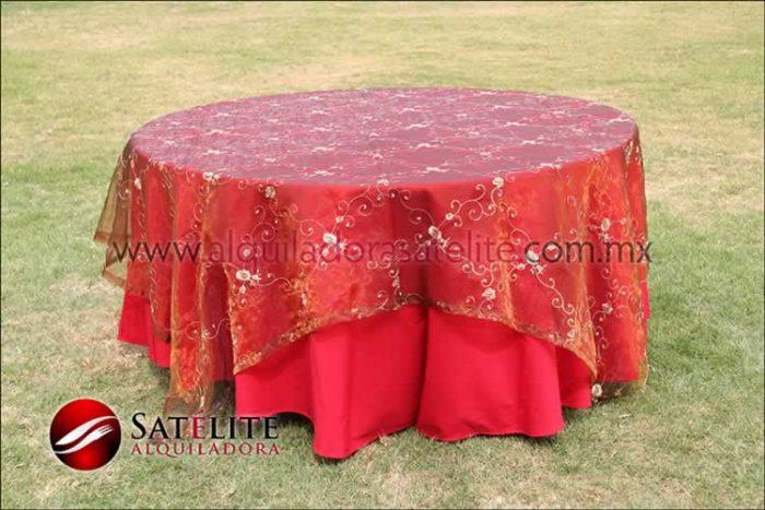 Mantel redondo rojo organza shedrón
