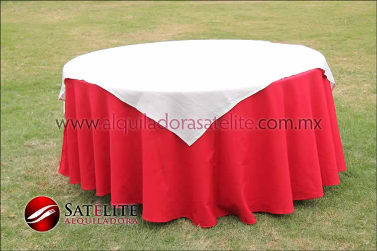 Mantel redondo rojo yute