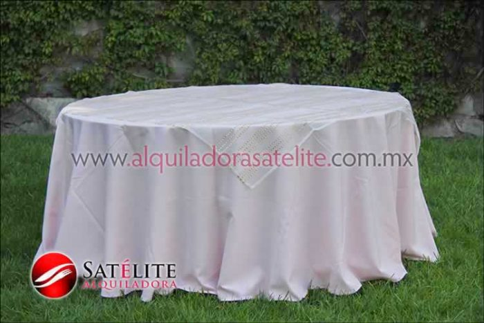Mantel redondo rosa claro organza blanco oro