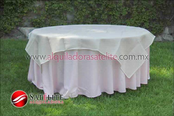 Mantel redondo rosa claro yute