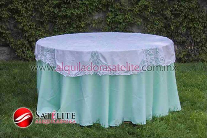 Mantel redondo verde agua brujas 1