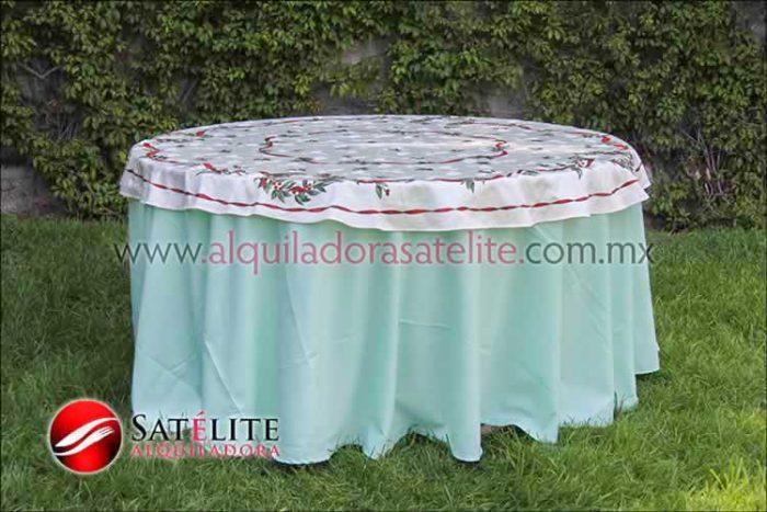 Mantel redondo verde agua navideño marfil