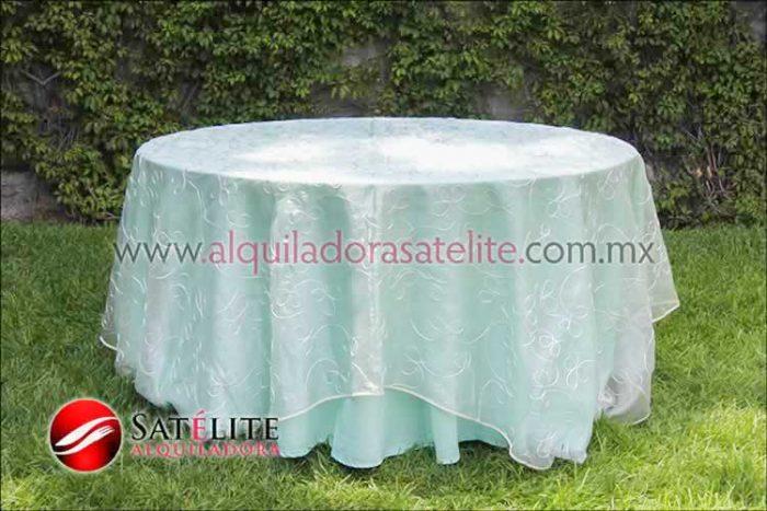 Mantel redondo verde agua organza alistonado